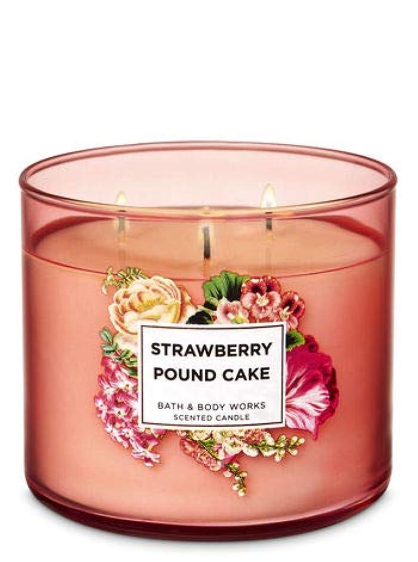 くま疑わしい悪意のある【Bath&Body Works/バス&ボディワークス】 アロマキャンドル ストロベリーパウンドケーキ 3-Wick Scented Candle Strawberry Pound Cake 14.5oz/411g [並行輸入品]