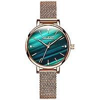 OLEVS Womens Watch - Ultra Thin Fashionable Minimalist - Stainless Steel Bezel Buckle - Luxury Rose Gold Mesh Steel Strap - Casual Analog Quartz Bracelet Watches for Women
