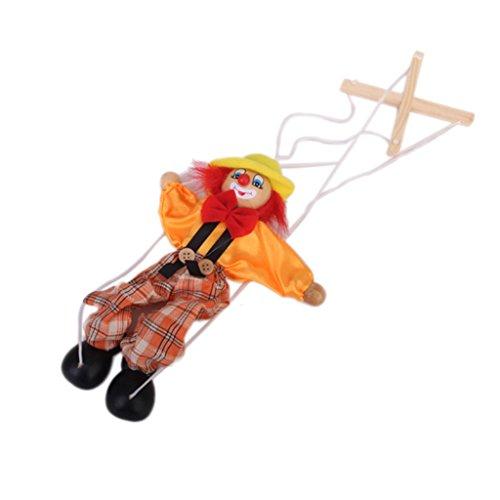 【ノーブランド品】木と服製 古典的 操り皮影人形 マリオネット ピエロ 人形 おもちゃ