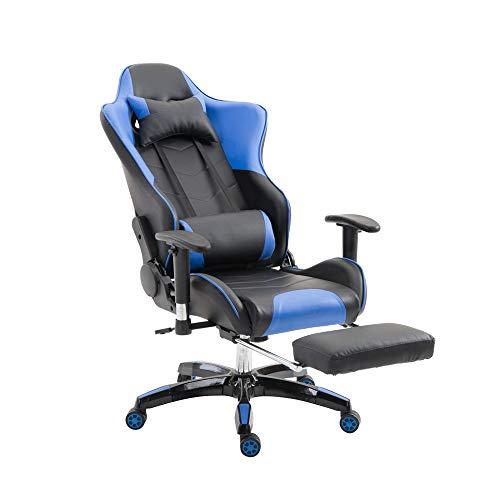 MCTECH ゲーミングチェア オフィスチェア ゲームチェア レーサーチェア ワークチェア キャスター付き椅子 レーシングスポーツシート ヘッドレスト 足置き付き 事務椅子 ブルー