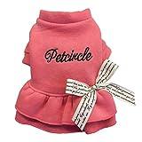 アディダス コート Desspo ペット服パピーラウンドネックドレスボウノットレディスカートファッションドッグシャツTシャツ衣装アパレルコートトップス(ピンク,S)