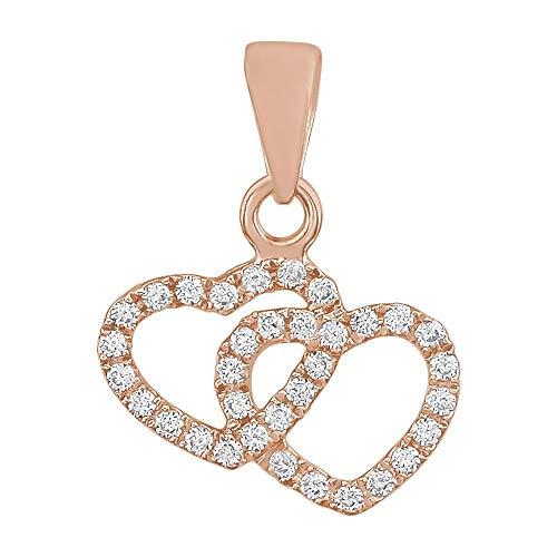 Jewels By Lux レディース 14Kローズゴールド1/6 CTWダイヤモンドダブルハートペンダント