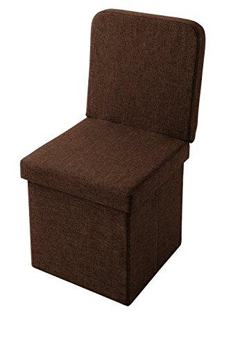 スツール 背付き 収納スツール コンパクト 背もたれ 収納ボックス 折りたたみ イス 椅子 オットマン ツールボックス (ブラウン)