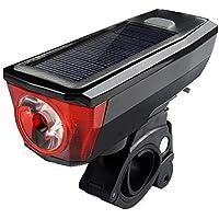 自転車ライト、ソーラー充電マウンテンバイクヘッドライトUSBホーンライト、サイクリング機器アクセサリー防水自転車ライト YZRCRK