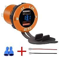 ACHICOO 車載充電器 スマホ/Ipad/GPS用 LEDデジタル 電圧計付き QC3.0 デュアルポート 2USB 充電器 電源アウトレット ブルーイエロー