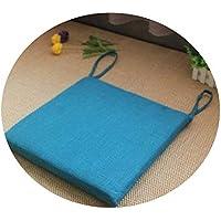 リネンオフィスの畳のクッションマット夏の通気性のシンプルな家庭食卓のクッション,スクエア[取り外し]ダークブルー,直径40*40*厚4cm