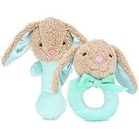 Dalino Babys Toys 赤ちゃん 可愛い 手作り 多機能 動物 BBスティック+ラトルセット (緑ウサギ)