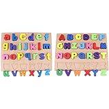 B Blesiya マッチングブロック 木のおもちゃ 大文字/小文字 アルファベットブロック はめこみ パズル 幼児 子供 教育玩具