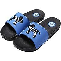 Summer Zebra Print Slippers Home Bathroom Anti-Slip Family Couple Slippers, Blue
