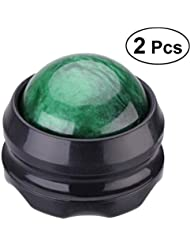 Healifty マッサージ ボール リラックスボール ローラー  足 ほぐし 健康器具 血行促進 頭痛 浮腫み解消 疲労回復 360度回転 2個入(緑)