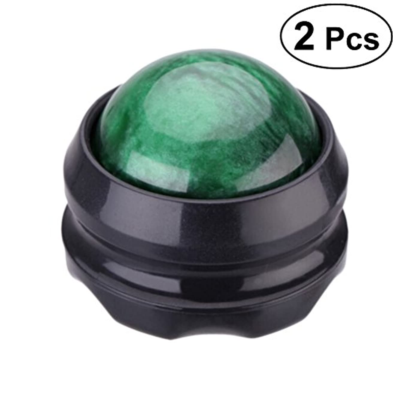 まっすぐにするデッキ錫Healifty マッサージ ボール リラックスボール ローラー  足 ほぐし 健康器具 血行促進 頭痛 浮腫み解消 疲労回復 360度回転 2個入(緑)