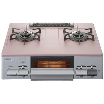 ハーマン テーブルコンロ フッ素コートトップ 有水片面焼グリル プロパンガス用 左強火 G55ZVLLP アッシュローズ