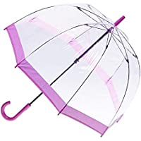 CLIFTON UMBRELLAS Pink Trim Clear PVC Birdcage Windproof Umbrella, Pink, One Size