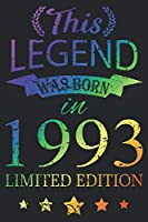 This Legend Was Born In 1993: Blank Lined Journal, Scratched Rainbow, Happy 27th Birthday Notebook, Logbook, Diary, Perfect Gift For 27 Year Old Boys And Girls