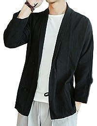 maweisong メンズカンフーシングルブレストリネン唐スーツ固体シャツ中国ジャケット