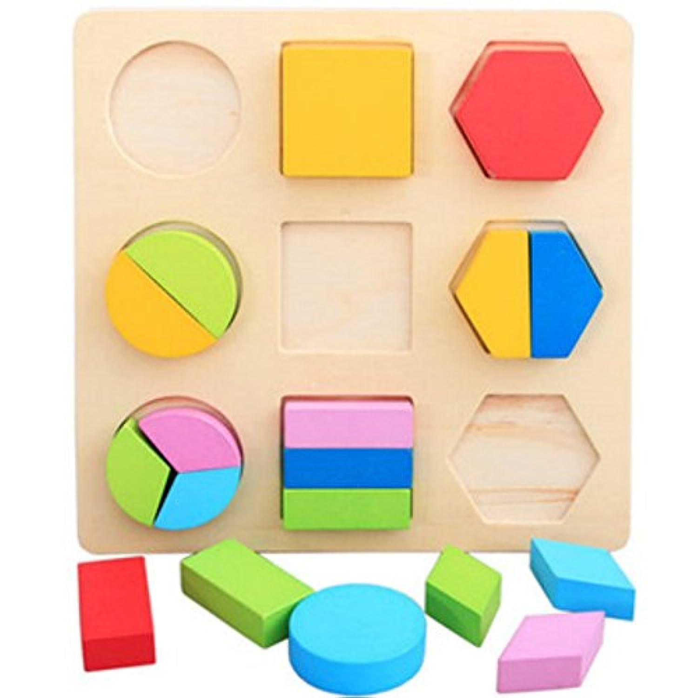 ベビーMontessori材質木製ボードジオメトリパズル形状色初期学習教育玩具幼児Playingタイプ