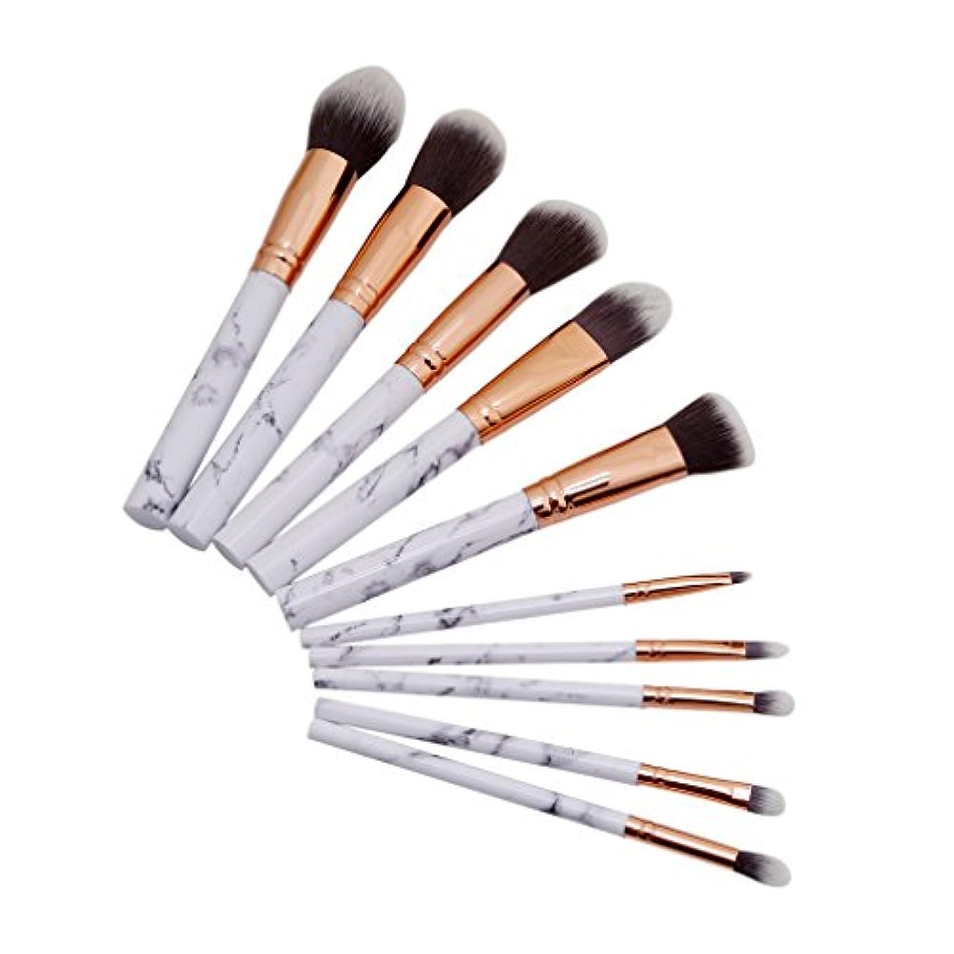 BEE&BLUE メイクブラシ セット 人気 10本セット 化粧筆 コスメ ブラシ メイクアップブラシ 大理石 ハンドル パウダーブラシ フェイスブラシ
