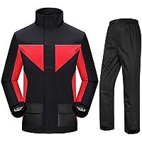 BYWSD Raincoat Rain Pants Suit Waterproof Single Split for Men and Women Adult Hiking Rainwear (Color : BlackBlack with red, Size : XL)