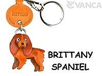 本革製 犬キーホルダー ブリタニースパニエル VANCA CRAFT (日本製 職人の手作り)