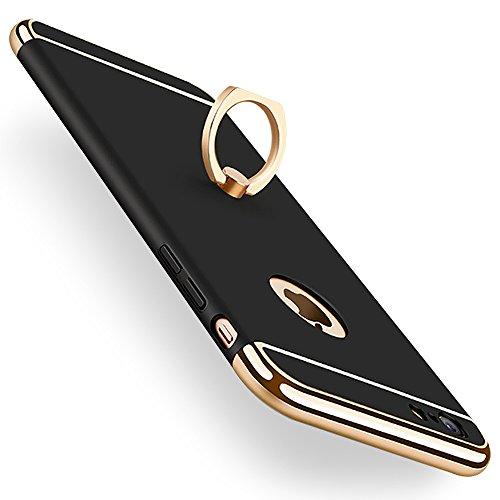 KYOKA iphone6plus ケース iphone6s plus ケース リング付き 衝撃防止 スタンド機能 3パーツ式 アイフォン6ケース おしゃれ 高級感 薄型 携帯カバー (iPhone6Plus/6sPlus, ブラック)