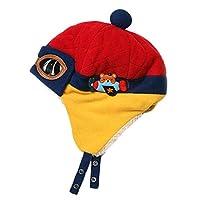 ファッション冬のベビーキッズ暖かいイヤーマフ帽子ぬいぐるみフライトはパイロットスタイルキャップギフトピンクキャップ