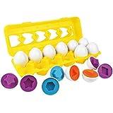 イースターエッグ プラスチック 開閉しやすい たまごカプセル 12個セット 収納ボックス付き カラータマゴ パズルおもちゃ 卵型 形合わせ 知育おもちゃ