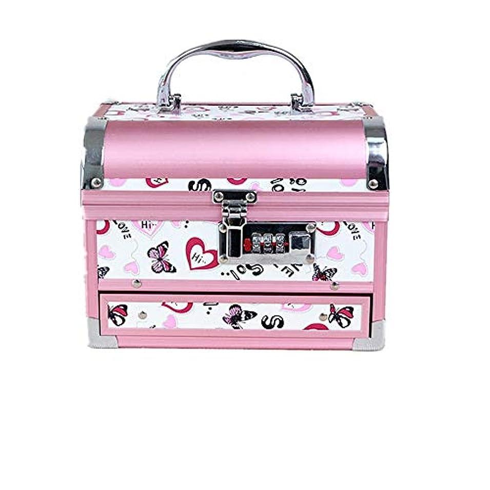 のため敵対的ラップトップ化粧オーガナイザーバッグ かわいいパターンポータブル化粧品ケーストラベルアクセサリーシャンプーボディウォッシュパーソナルアイテムストレージロックと拡張トレイ 化粧品ケース