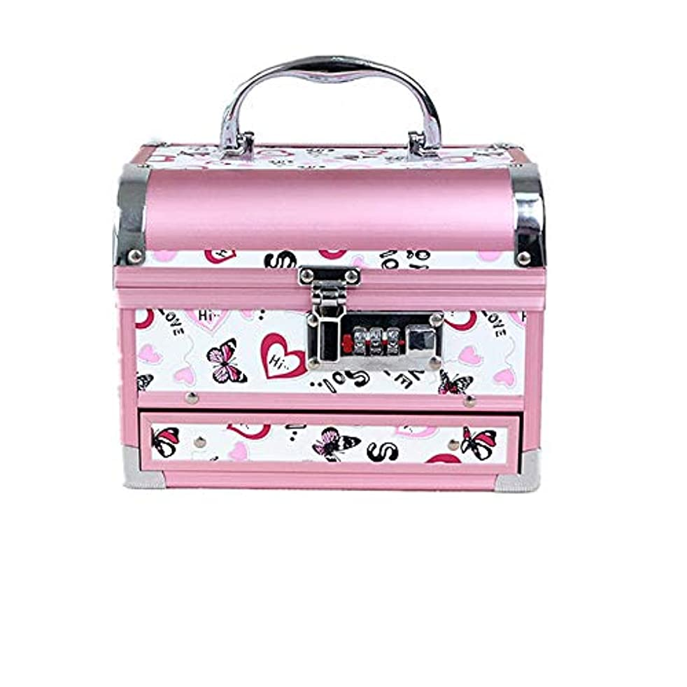 アトミック接続された町化粧オーガナイザーバッグ かわいいパターンポータブル化粧品ケーストラベルアクセサリーシャンプーボディウォッシュパーソナルアイテムストレージロックと拡張トレイ 化粧品ケース