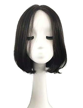 LARI-Lrj 人毛 フルウィッグ ボブ ウィッグ ストレート 人毛100 総手植え 人工皮膚付き 35cm位 (S, 黒色)