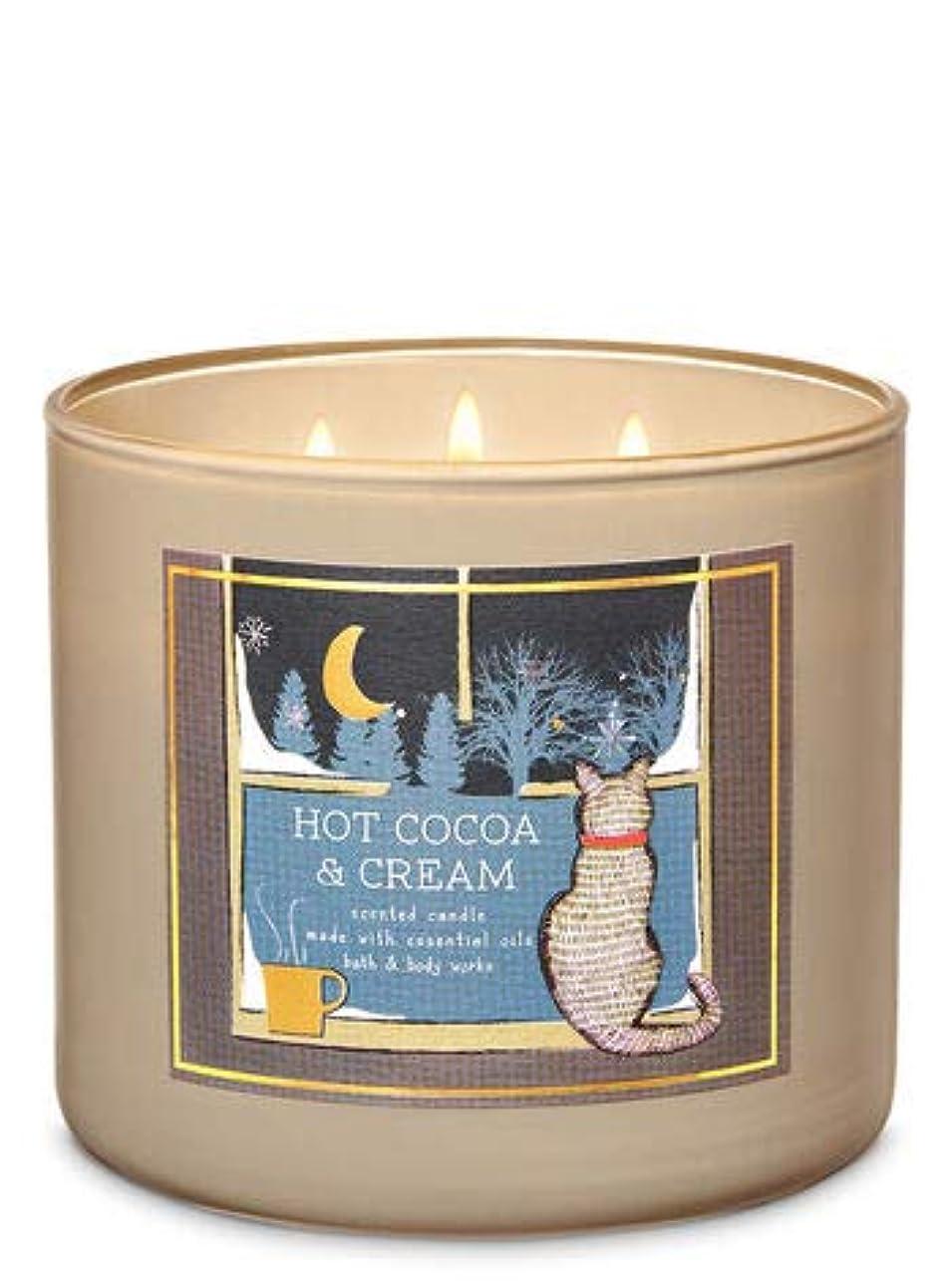 不潔ボスシャイ【Bath&Body Works/バス&ボディワークス】 アロマ キャンドル ホットココア&クリーム 3-Wick Scented Candle Hot Cocoa & Cream 14.5oz/411g [並行輸入品]