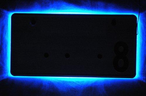 光る 12 LED 搭載 アクリル ナンバー プレート フレーム ホルダー 【ADVANTAGE】 バイク 12V 車 に (ブルー(車用))