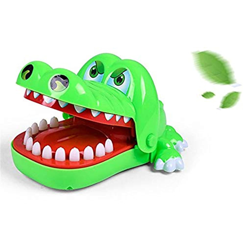Cozyswan ドキドキワニ ミニ 指を噛む 危機一髪ゲーム ドキドキ 面白い いたずらおもちゃ 親子ゲーム アクションゲーム 電池式も可能 プラスチック製 家族 祝日 お祝い 誕生日 盛り上がる どっきり (グリーン)