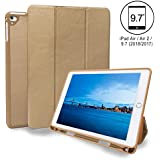 iPad Air Cases and Covers, Flyme iPad Case PU Leather iPad Cover Stand with Pencil Holder Touch Screen Pen Screen Protector for iPad Air 2/Air 1/2018/2017 9.7 inch iPad, Auto Wake/Sleep Gold