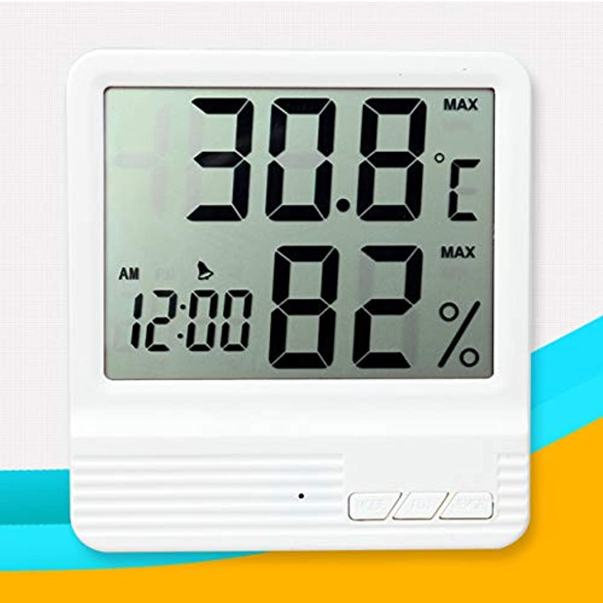 陪審評論家非公式Saikogoods 電子体温計湿度計 デジタルディスプレイ 温度湿度モニター アラーム時計 屋内家庭用 白