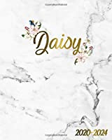 Daisy 2020-2024: Floral Marble & Gold Five Year Monthly Planner & Five Year Agenda | Pretty Girl Name 60 Months Spread View Organizer with To-Do's, Inspirational Quotes, Vision Boards & Notes.