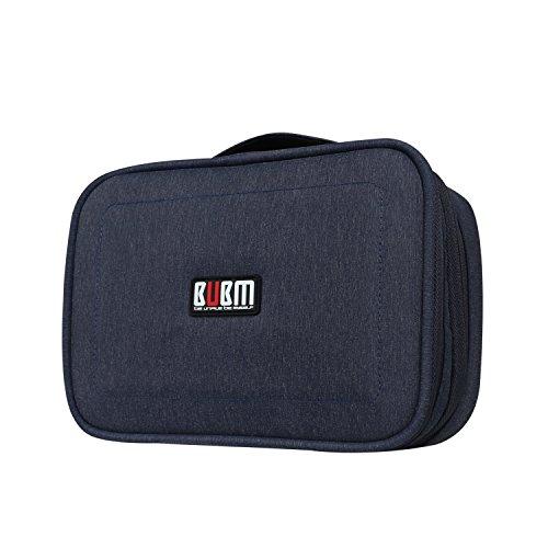 BUBM 二層式 仕分け自由自在 PC周辺機器整理ケース iPad mini収納可 トラベルバッグ メンズ レディース プレゼント(紺)