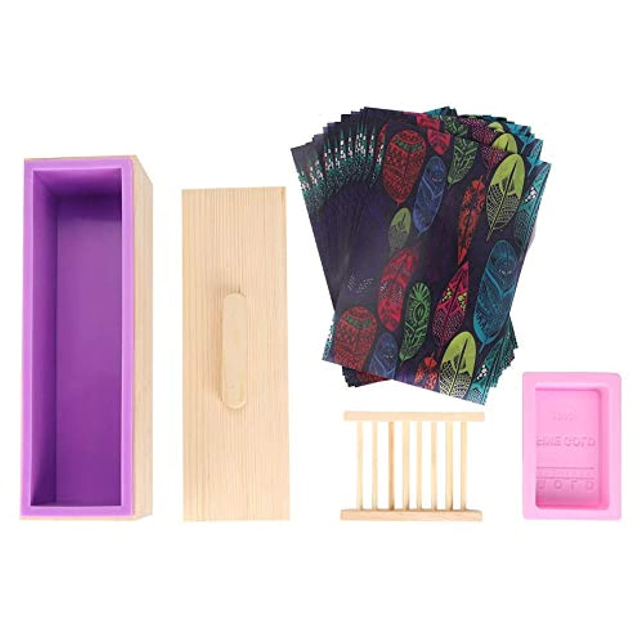Salinr ソープカッター 石けん金型ソープロープ カッター 紫色のシリコントースト木箱 石鹸カッターモールド石鹸ロープモールド カッター ソープカッターボックス家庭用ツール ツールDIY 手作り