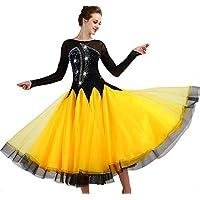garudaレディース社交ダンスドレス パーティーダンス発表会ワンピースドレス 舞台衣装ワンピース 黒+黄色