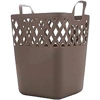 家庭用ポータブルランドリーバスケットプラスチック中空汚れたハンパー服雑貨保管バスケット、37.5 * 37 * 33センチメートル (色 : Brown)