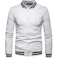 Macondoo Mens Rhomb Print Sport Windbreaker Casual Baseball Jacket Coat