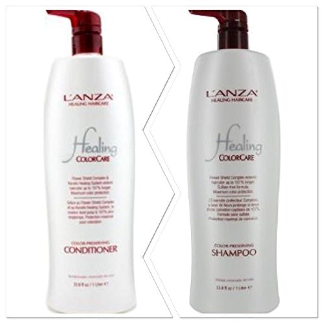 ピル不和実現可能性L'anza Healing Colorcare Color-preserving Shampoo + Conditioner Dou (33.8 oz (1Liter)) by L'anza