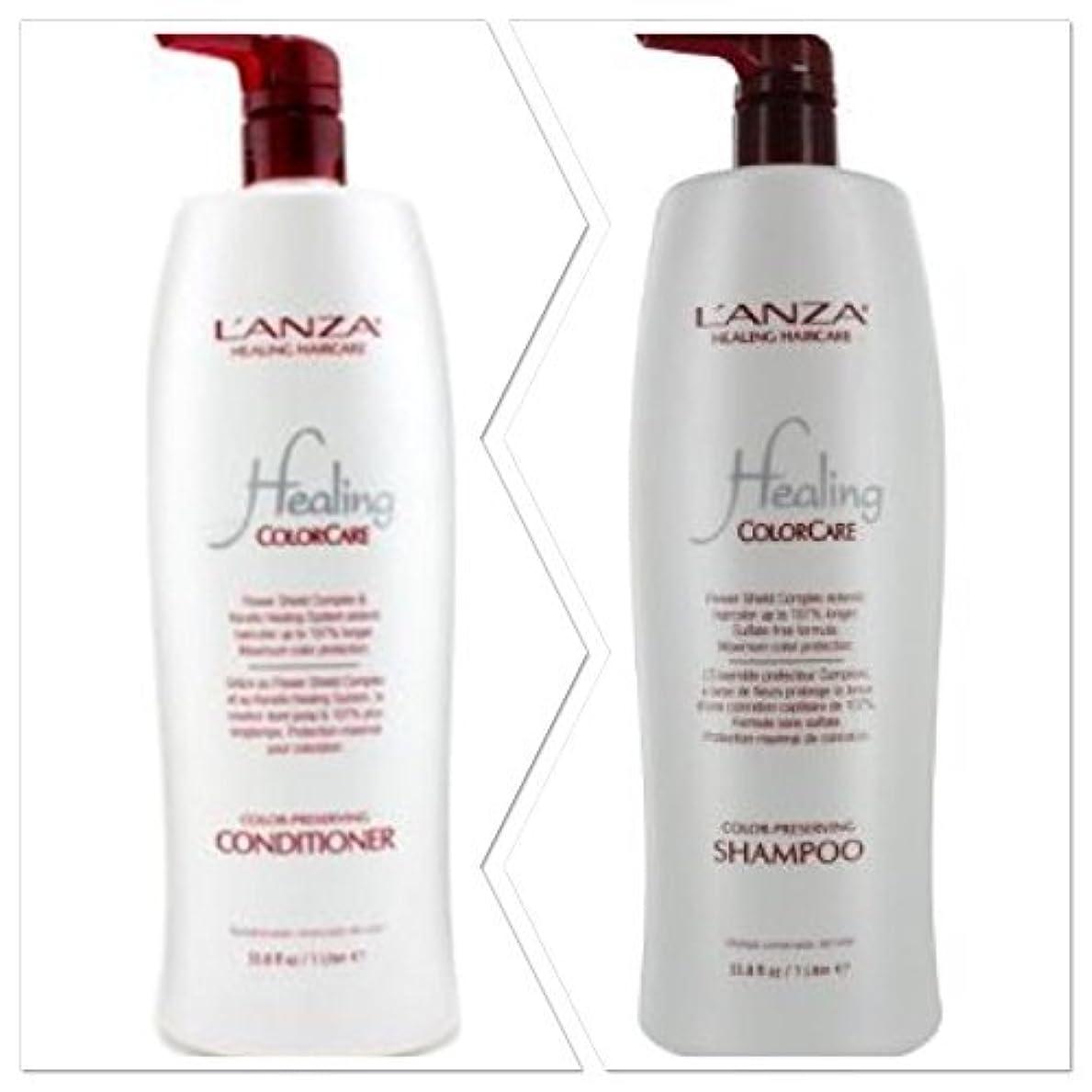 複雑なボランティアなめらかなL'anza Healing Colorcare Color-preserving Shampoo + Conditioner Dou (33.8 oz (1Liter)) by L'anza