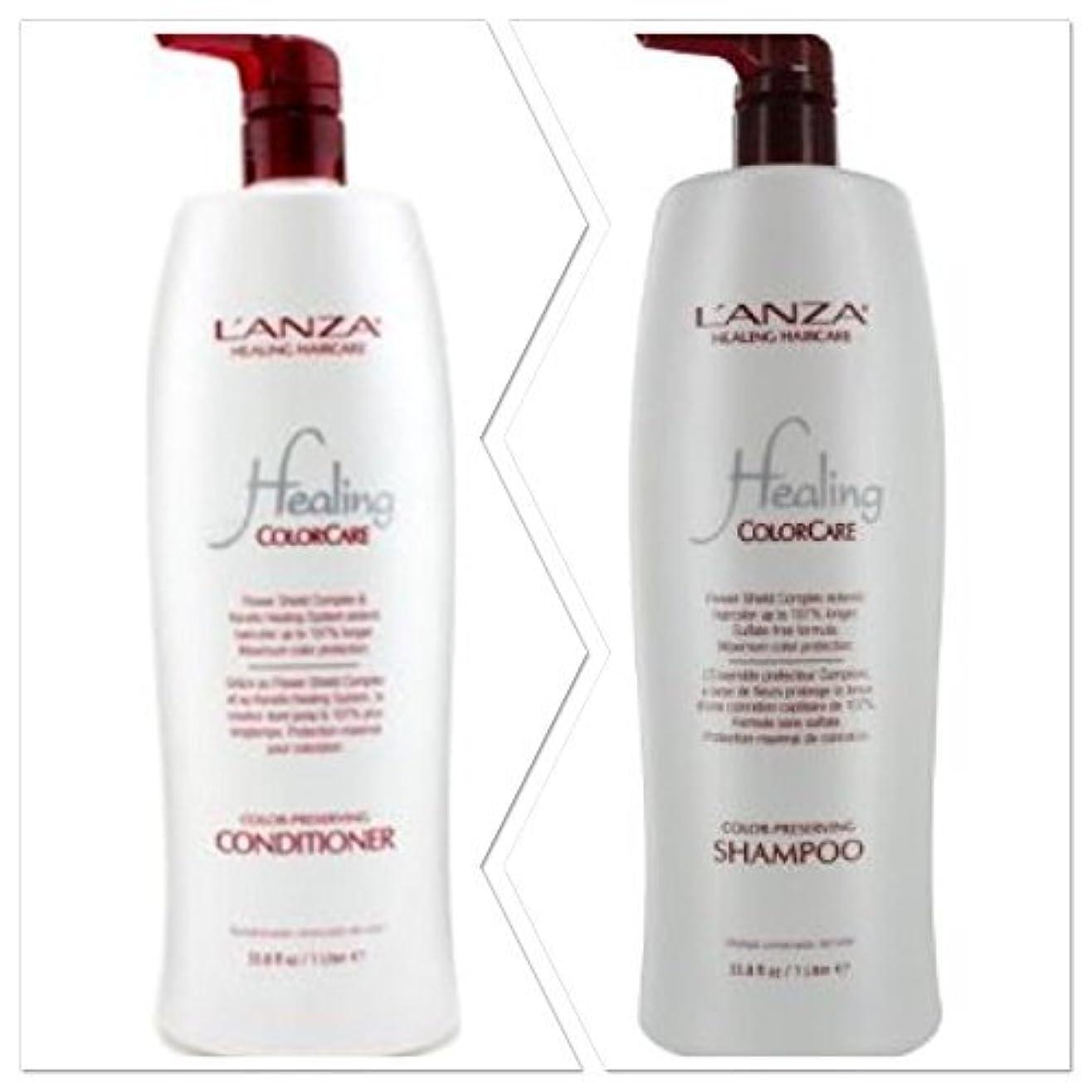 曲げる自然ポップL'anza Healing Colorcare Color-preserving Shampoo + Conditioner Dou (33.8 oz (1Liter)) by L'anza