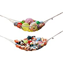 MiniOwls TOY STORAGE HAMMOCK XL - 2 pack - Organizer in White De-cluttering Solution & Inexpensive Idea for Every Room at Home - 3% is Donated to Breast Cancer Foundation (2 sets white xl)