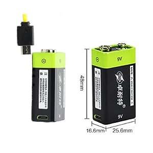 Solesyi USB充電式9V形リチウムイオン電池 リチウムポリマー電池 400mAh 約3000回使用可能 (二個)