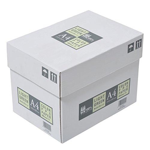 ジャパン カラーコピー用紙 A4 2500枚 500枚×5冊 ライトグリーン