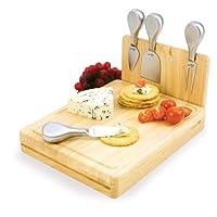 折りたたみ木製カッティングボード/チーズボード/チーズナイフセット付き