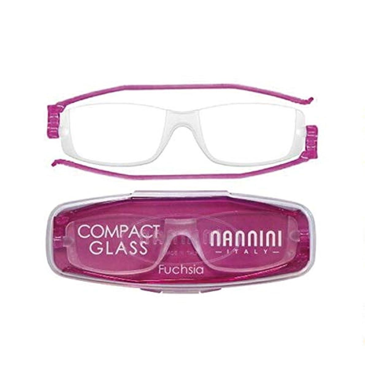 老眼鏡 コンパクトグラス2 nannini リーディンググラス 男性用 女性用 メンズ レディース シニアグラス 全12色(+2.50,フクシャ)