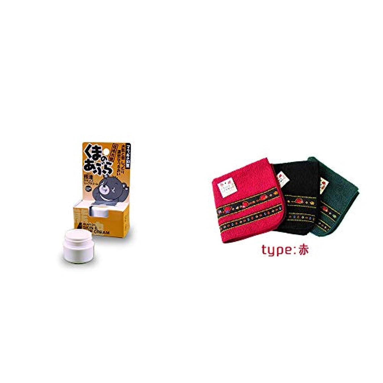 インカ帝国リファインデータム[2点セット] 信州木曽 くまのあぶら 熊油スキン&リップクリーム(9g)?さるぼぼ 刺繍ミニタオル【赤】