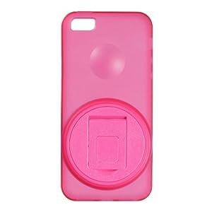 GREEN HOUSE iPhone 5/5S対応 液晶保護フィルム クリーニングクロス 付属 ストラップホール回転式スタンドケース ピンク GH-CA-IP5RP